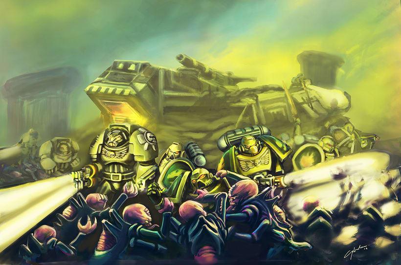 WARHAMMER 40000 salamanders space marines vs genestealers concept art fandom 0