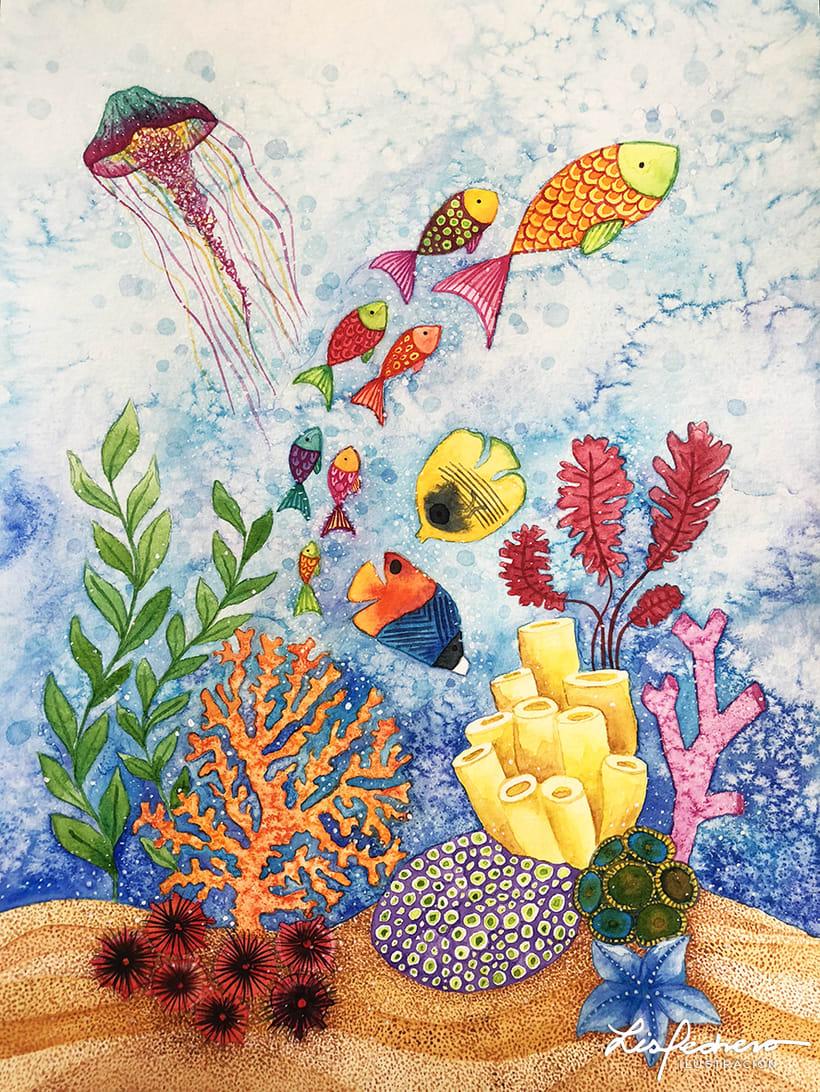 Arrecife, proyecto final de Técnicas modernas de Acuarela 0