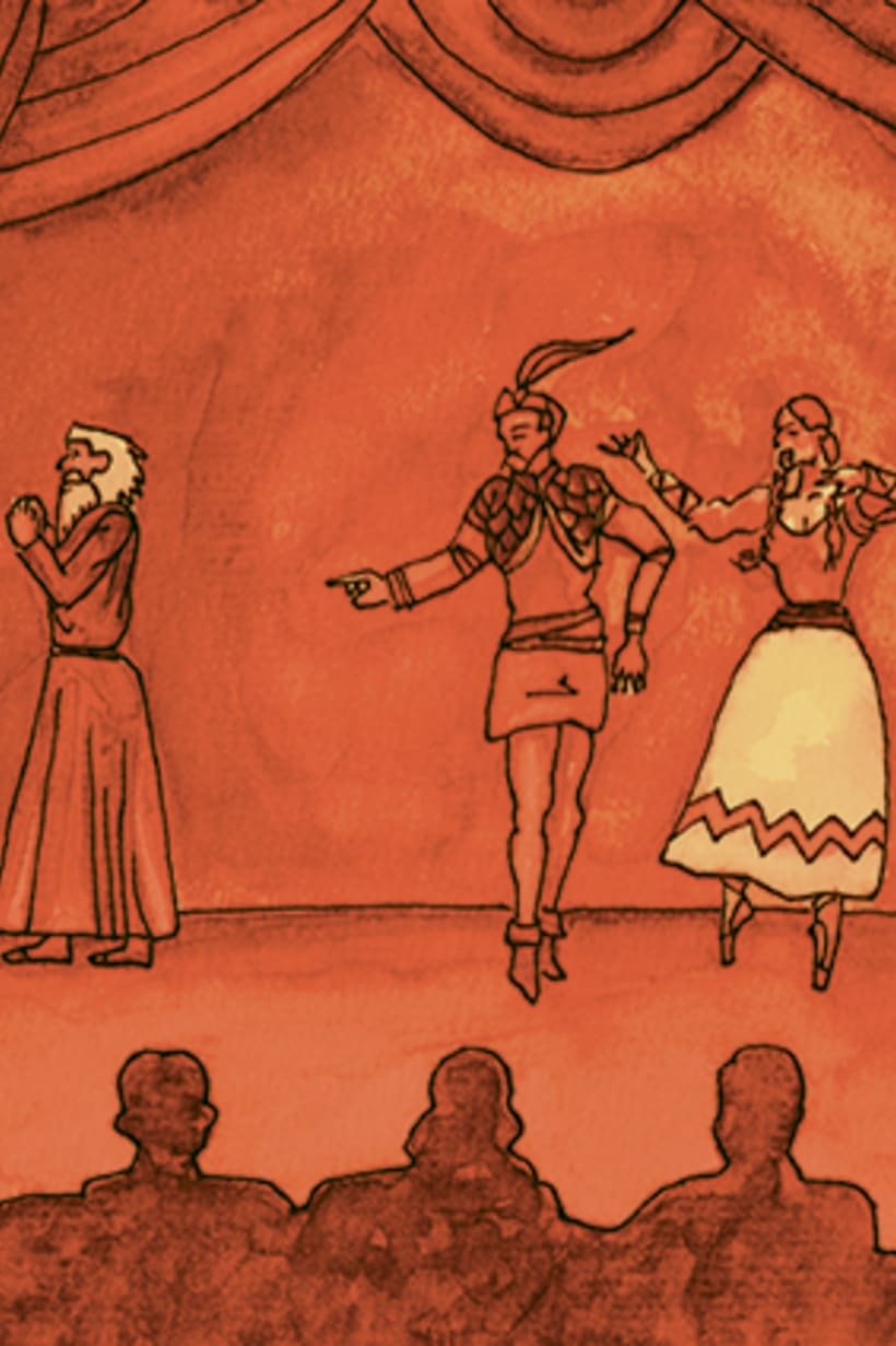Còmic El fantasma de l'òpera. Anilina i tinta taronja. Monocromàtic. 2