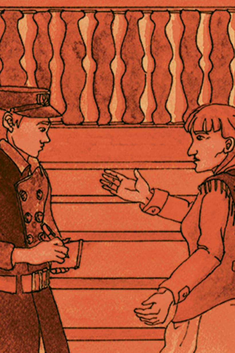 Còmic El fantasma de l'òpera. Anilina i tinta taronja. Monocromàtic. 5