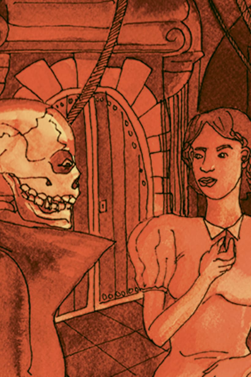 Còmic El fantasma de l'òpera. Anilina i tinta taronja. Monocromàtic. 8