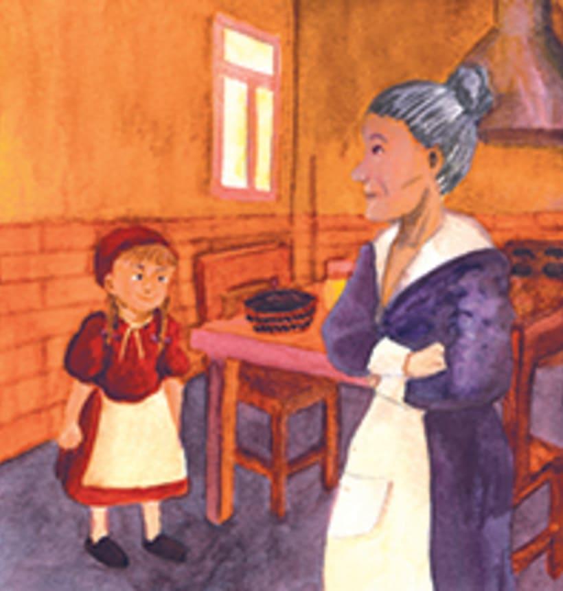 La caputxeta vermella. Conte infantil il·lustrat. Tècnica aquarel·la. -1