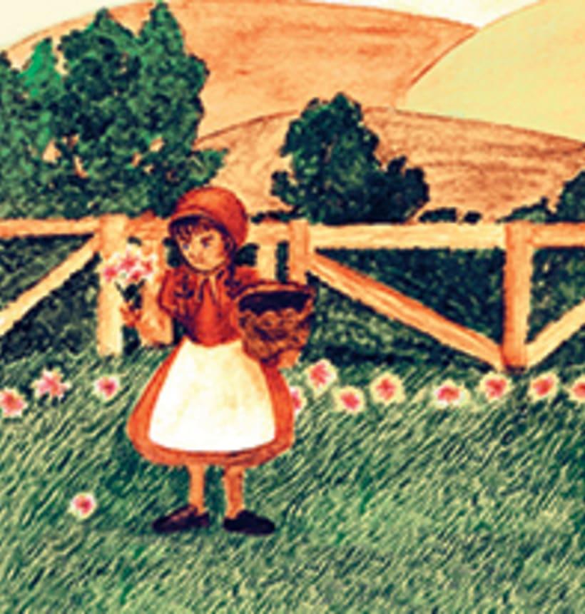 La caputxeta vermella. Conte infantil il·lustrat. Tècnica aquarel·la. 0