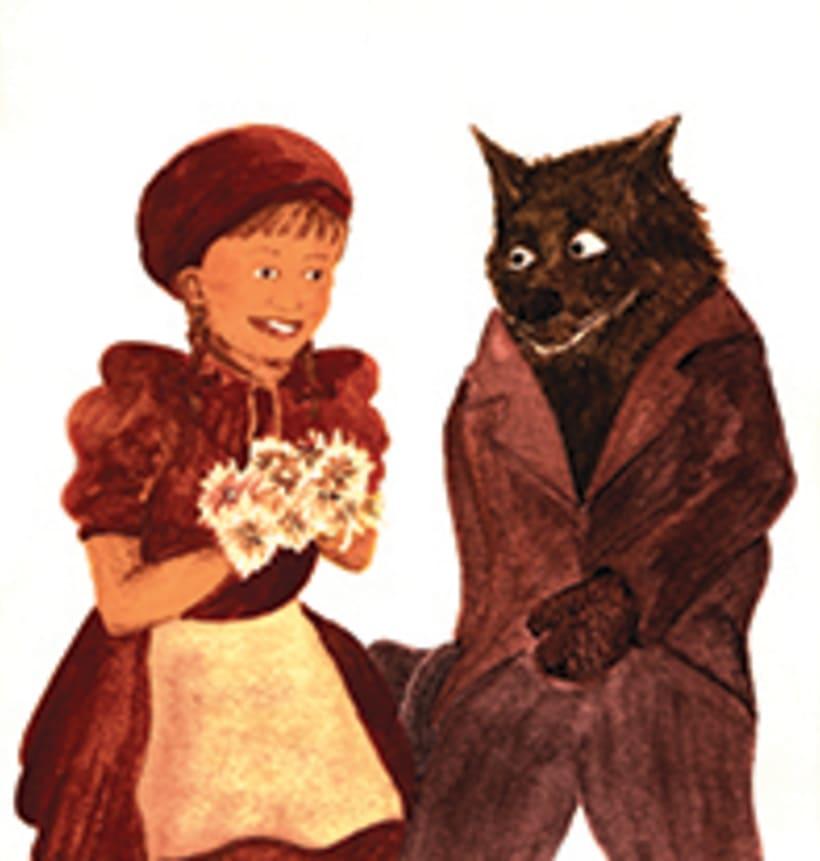 La caputxeta vermella. Conte infantil il·lustrat. Tècnica aquarel·la. 1