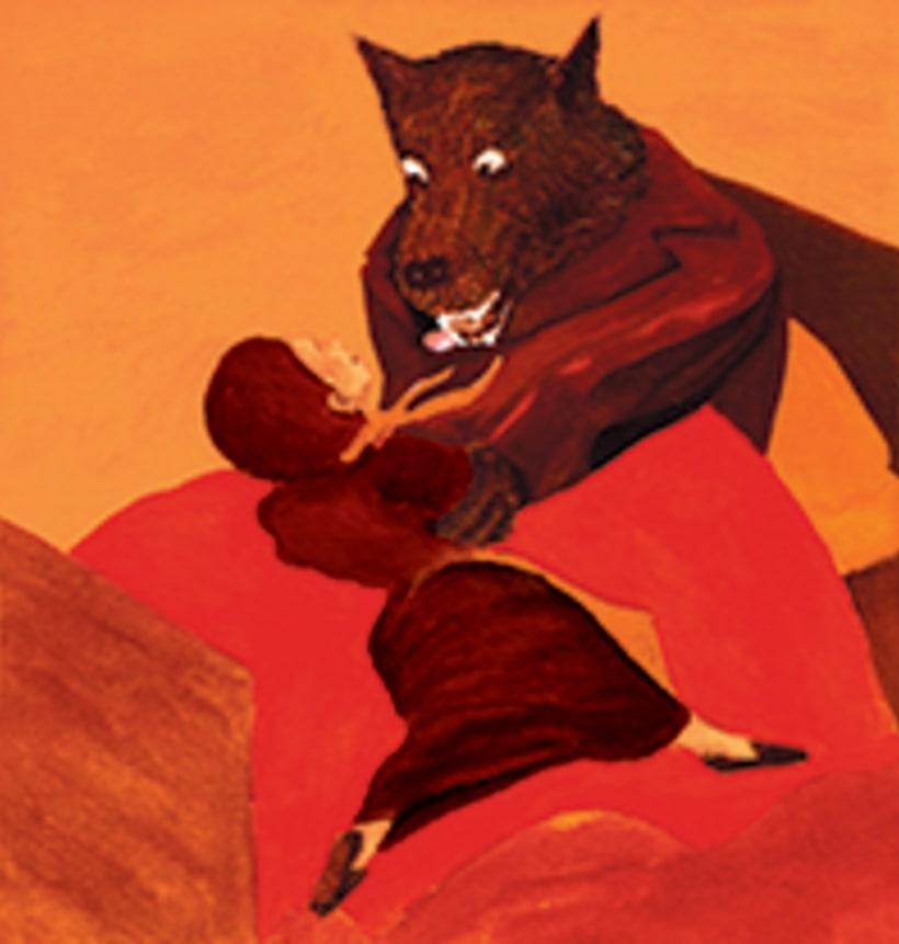 La caputxeta vermella. Conte infantil il·lustrat. Tècnica aquarel·la. 5