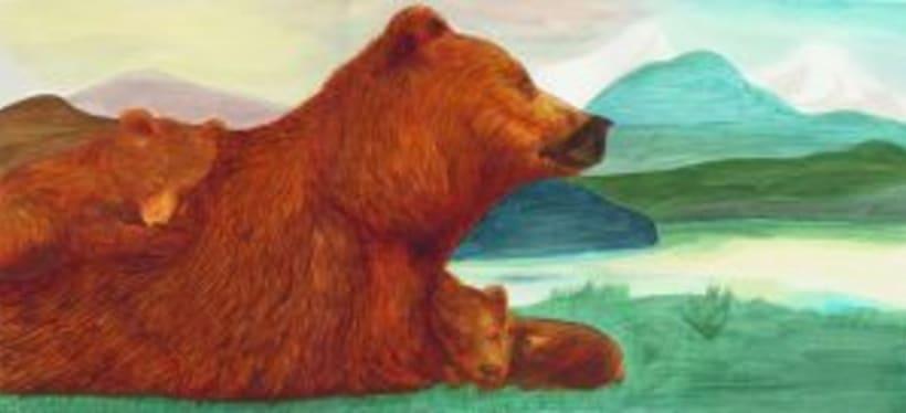 Bernat l'ós. Il·lustració infantil. Tècnica acrílic.  2