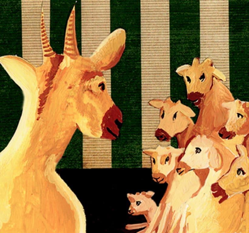Les tres cabretes. Il·lustració infantil. Tècnica gouache. 1