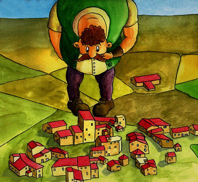 El gegant de Lapau. Il·lustració infantil. Tècnica aquarel·la. -1