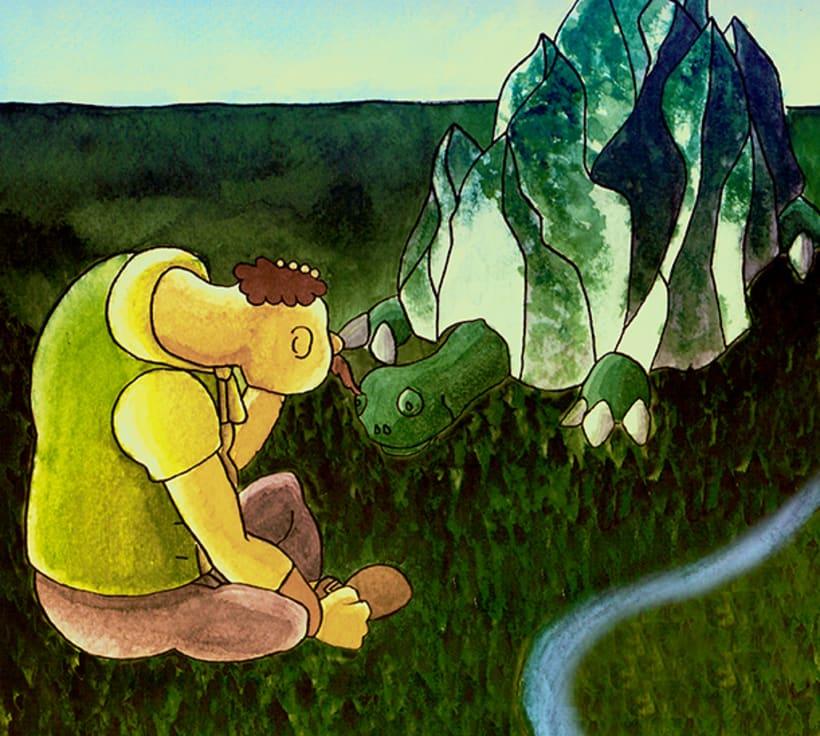 El gegant de Lapau. Il·lustració infantil. Tècnica aquarel·la. 1