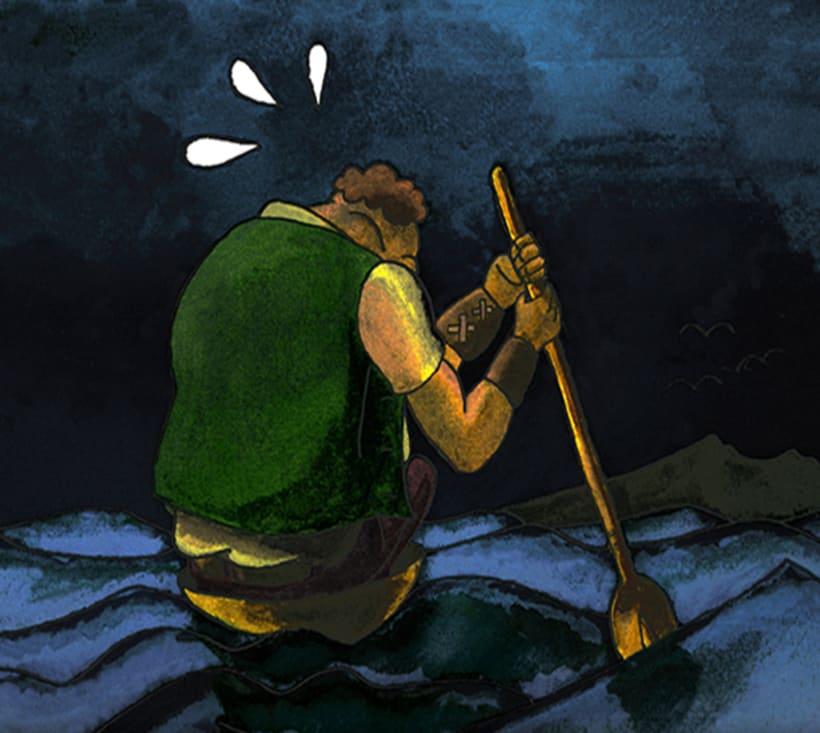 El gegant de Lapau. Il·lustració infantil. Tècnica aquarel·la. 2
