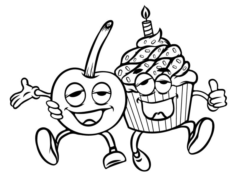 Cherry Cake Label Illustration 2