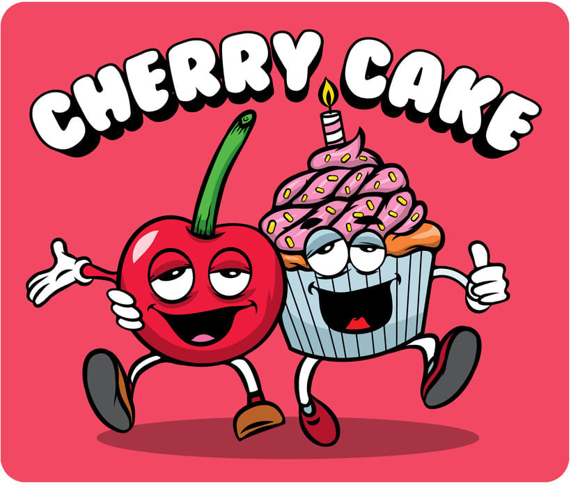 Cherry Cake Label Illustration 4