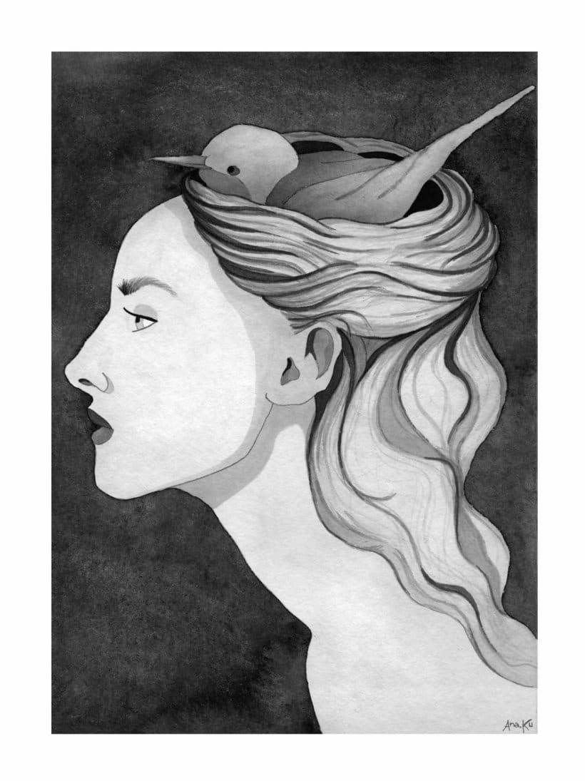"""Introducción a la ilustración con tinta china: """"Pájaros en la cabeza"""" -1"""