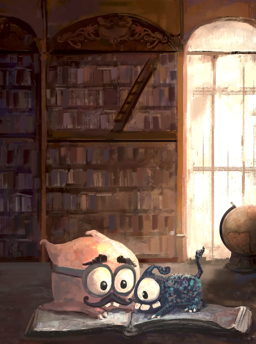Leyendo en la librería -1