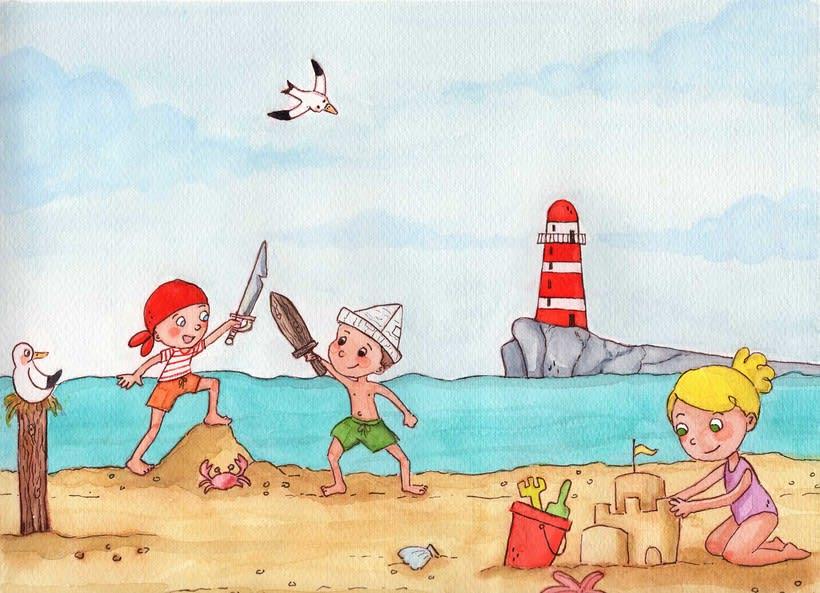 Jugando en la playa -1