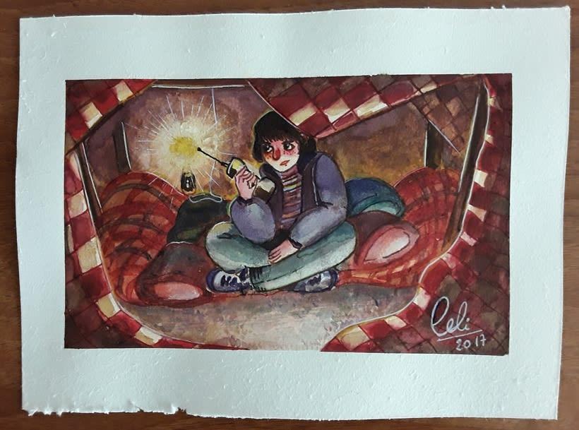 Ilustraciones en acuarelas sobre la seríe Stranger things 0