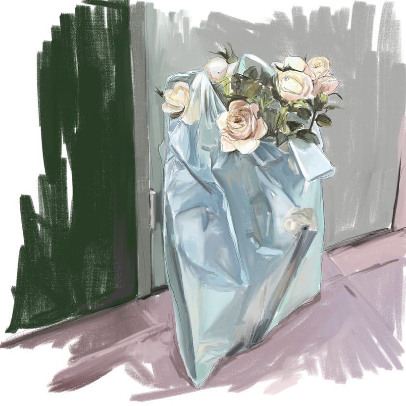 Roses in plastic -1