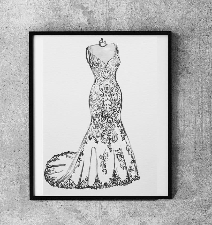 Ilustración del vestido de novia *aniversario de boda*  acuarelas -1