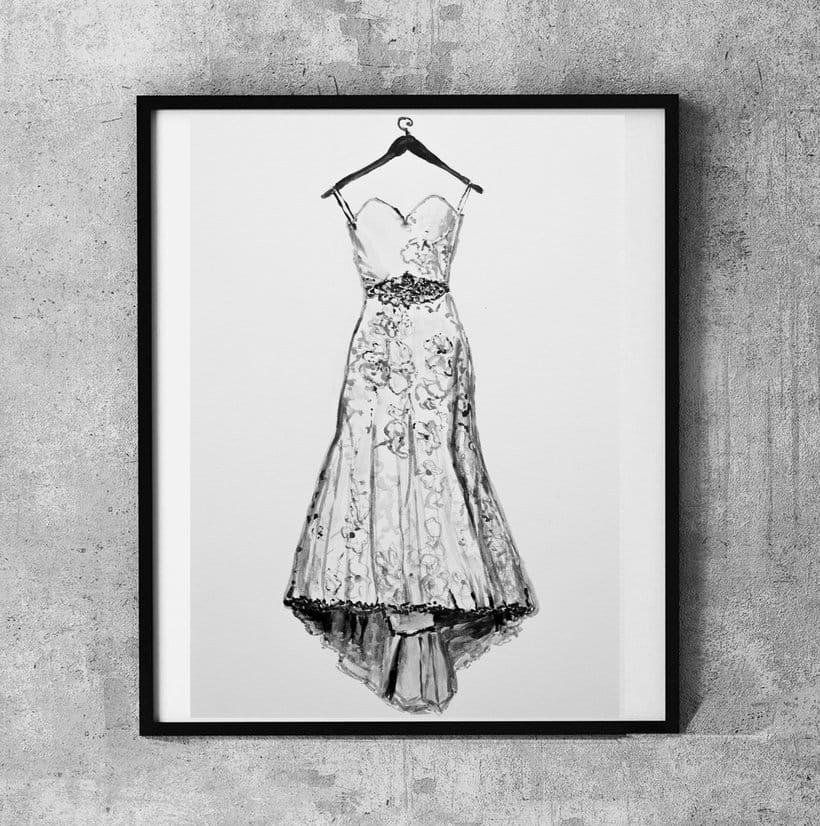 Ilustración del vestido de novia *aniversario de boda*  acuarelas 0