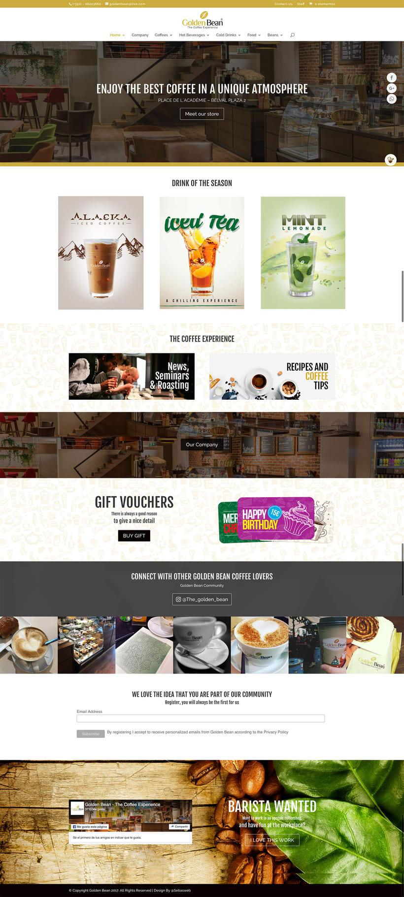 Cliente: Golden Bean - Diseño y Montaje en Wordpress - Luxemburgo 0