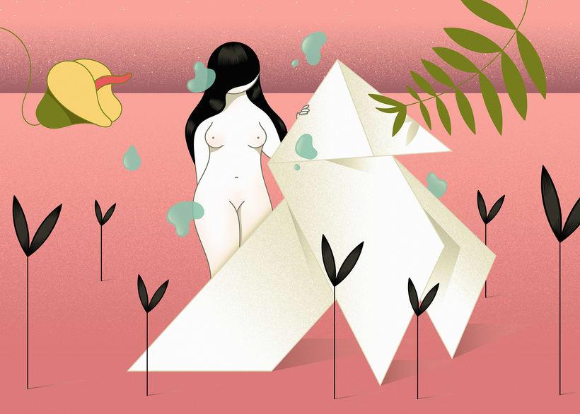 """""""Origami"""" ilustración extraída de la colección """"Otros Mundos"""" ©Hugo Giner 2018. 0"""