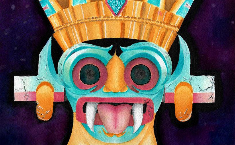 Tlaloc, ilustración tradicional con acuarela. 0