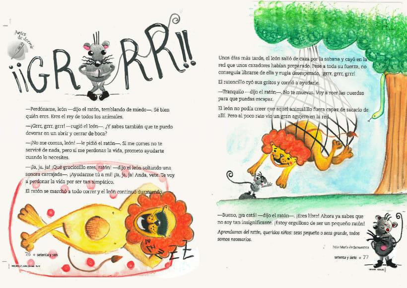 ilustraciones para fábula el león y ratón 1