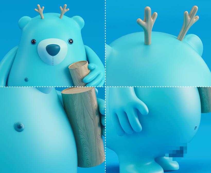 THE NAKED BEAR  (Diseño de personajes en Cinema 4D: del boceto a la impresión 3D) 6