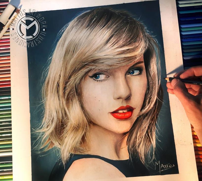 Retrato Taylor Swift Làpices De Colores Domestika