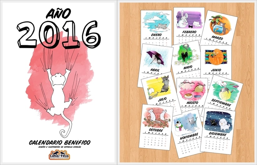Calendario benéfico con ilustraciones felinas 1