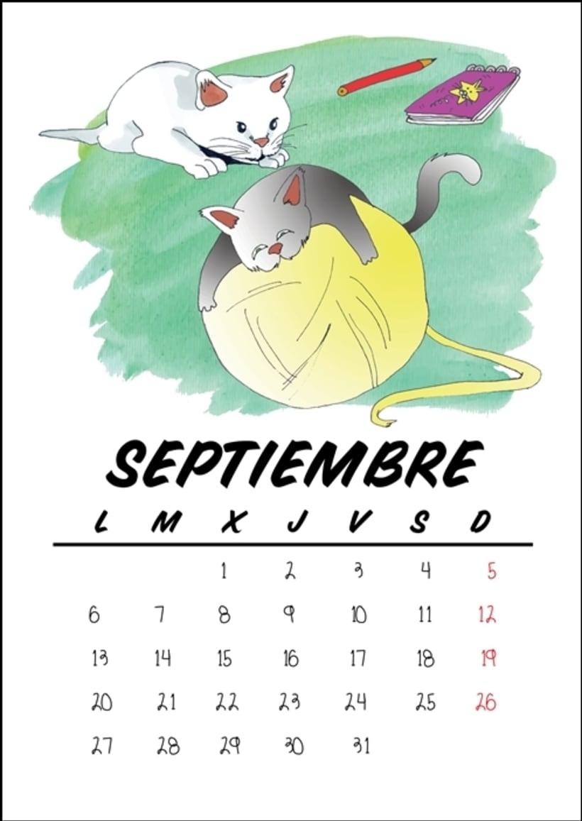 Calendario benéfico con ilustraciones felinas 12