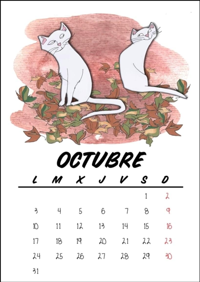 Calendario benéfico con ilustraciones felinas 13