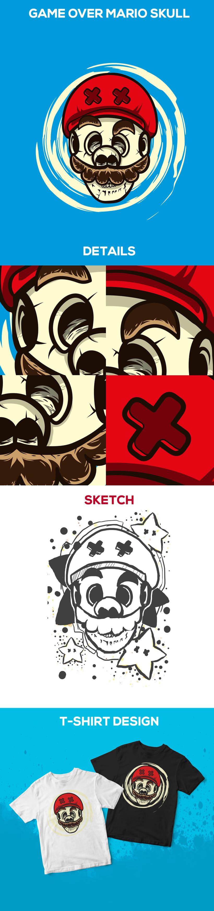 Mario Bros para camisetas | ilustración vectorial  -1