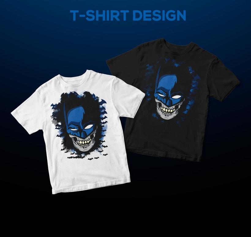 El Caballero Oscuro   Cráneo  Bruce Wayne   Ilustración vectorial para camiseta  3