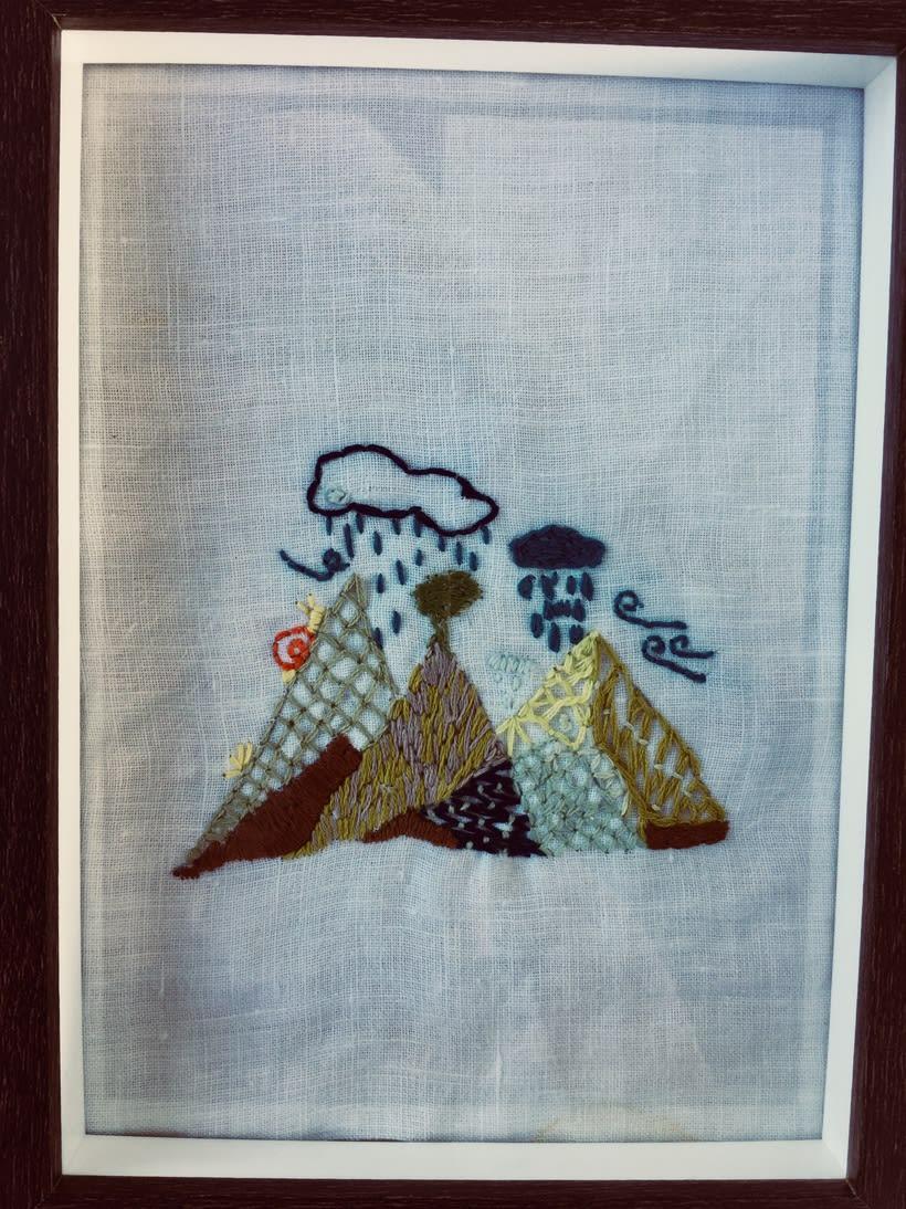 """Mi Proyecto del curso: Técnicas de bordado. """"Montaña, lluvia, nubes, viento y un caracol"""" 0"""