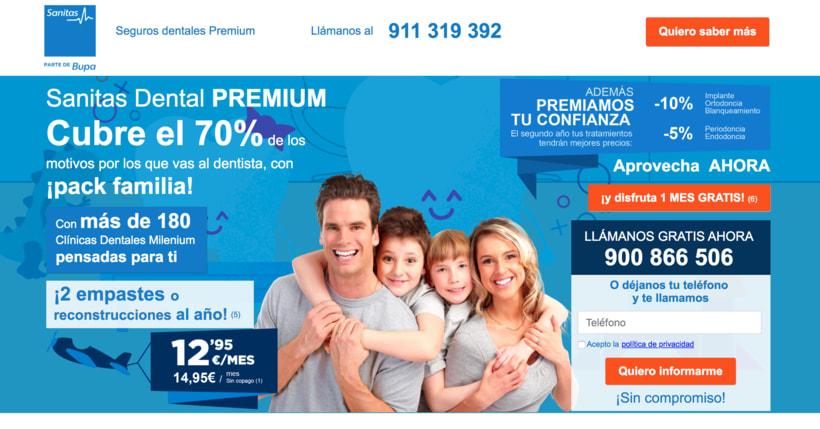 """Landin page para """"Sanitas"""" - Sanitas Dental PREMIUM - Responsive design 1"""