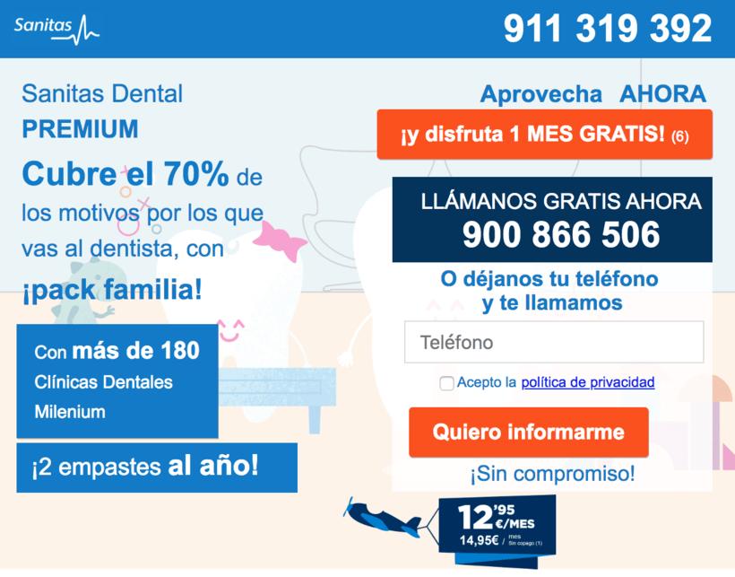 """Landin page para """"Sanitas"""" - Sanitas Dental PREMIUM - Responsive design 2"""