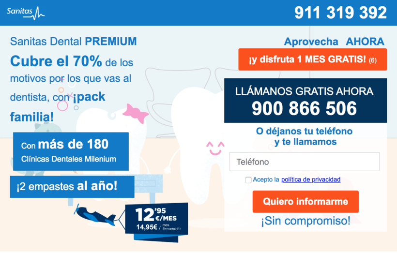 """Landin page para """"Sanitas"""" - Sanitas Dental PREMIUM - Responsive design 3"""