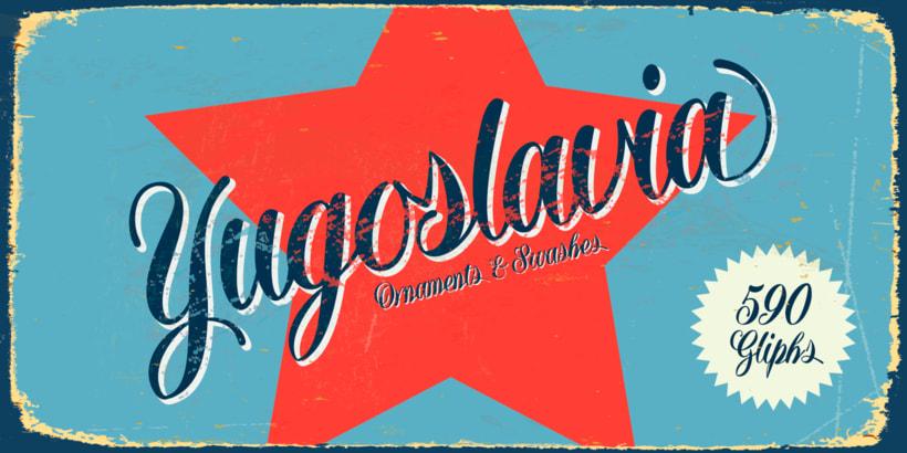 Yugoslavia, fuente caligráfica 0