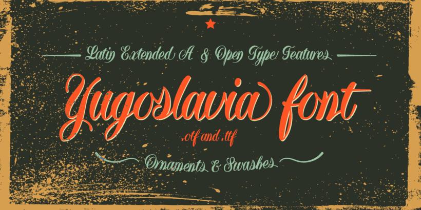 Yugoslavia, fuente caligráfica 8