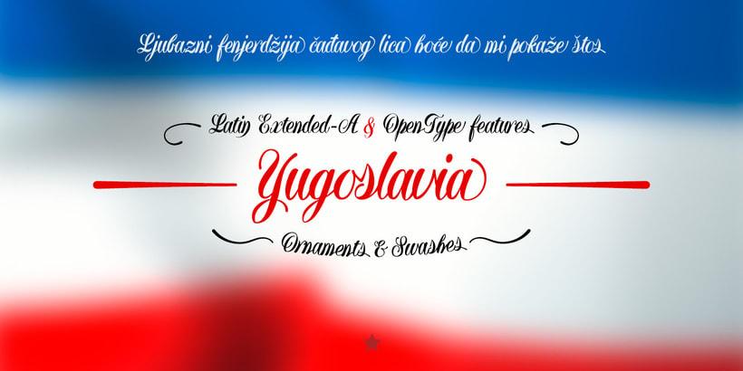 Yugoslavia, fuente caligráfica 7