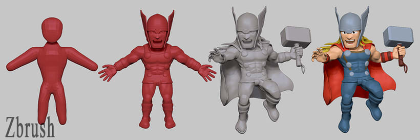 Proyecto:  Thor /Modelado profesional de personajes cartoon 3D 1