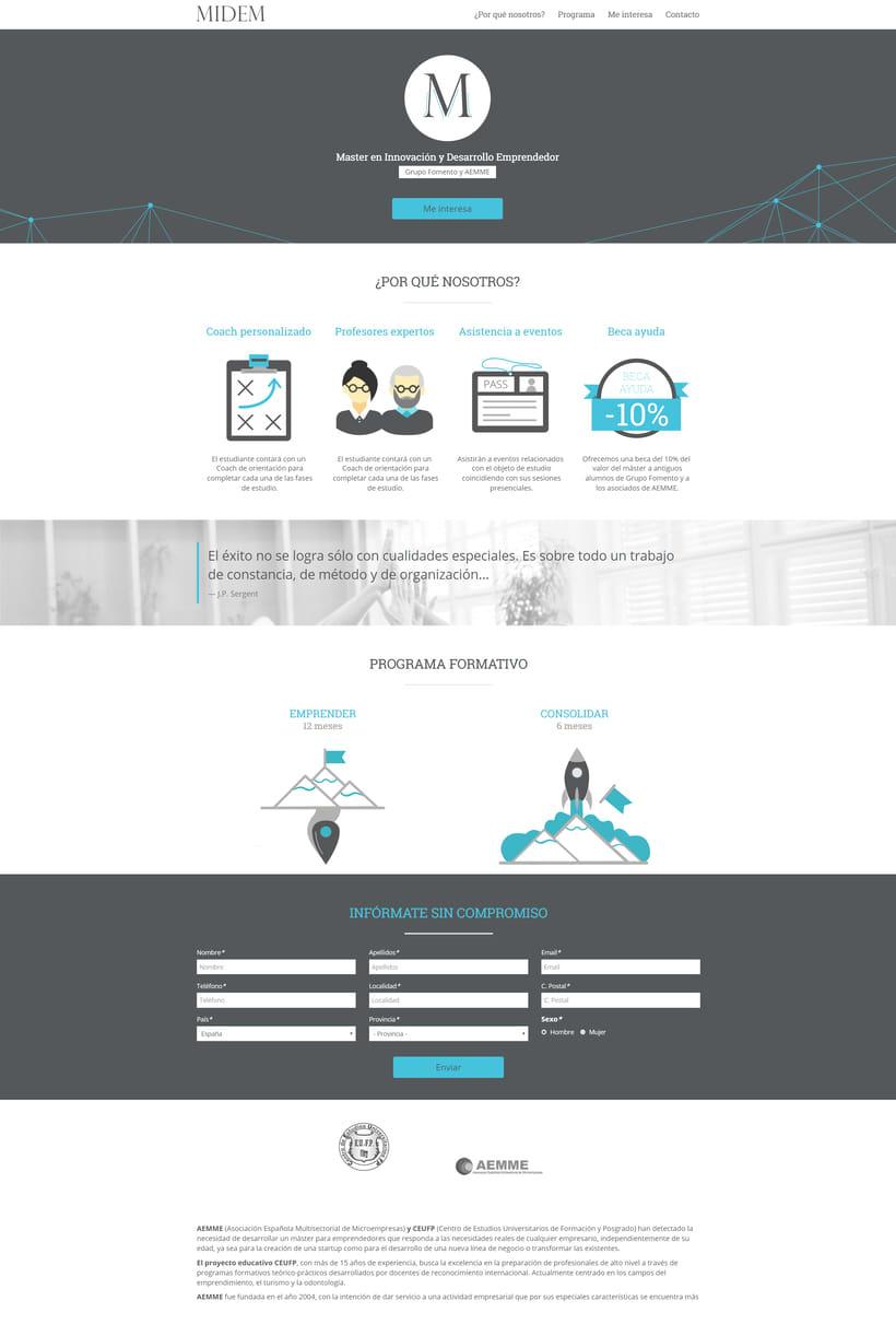 Diseño y maquetación de Landing Page - MIDEM 1