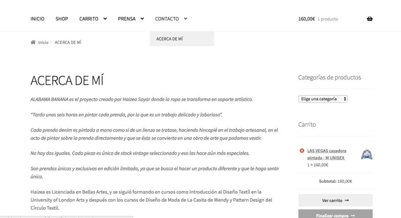Mi Proyecto del curso: Creación de una tienda online en WordPress: ALABAMA BANANA 5