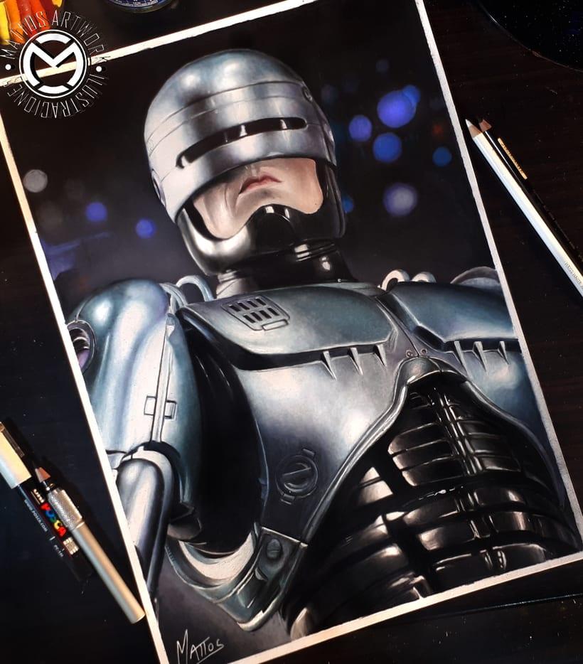 Robocop - ilustraciòn en làpices de colores 0