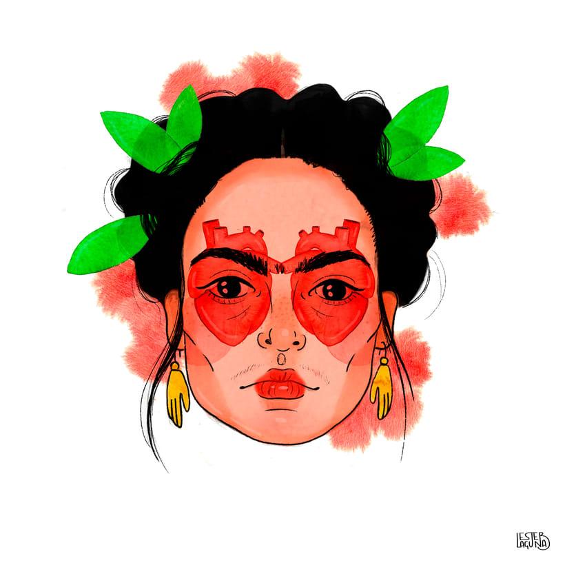 Mi Proyecto del curso: Retrato Frida en acuarela -1