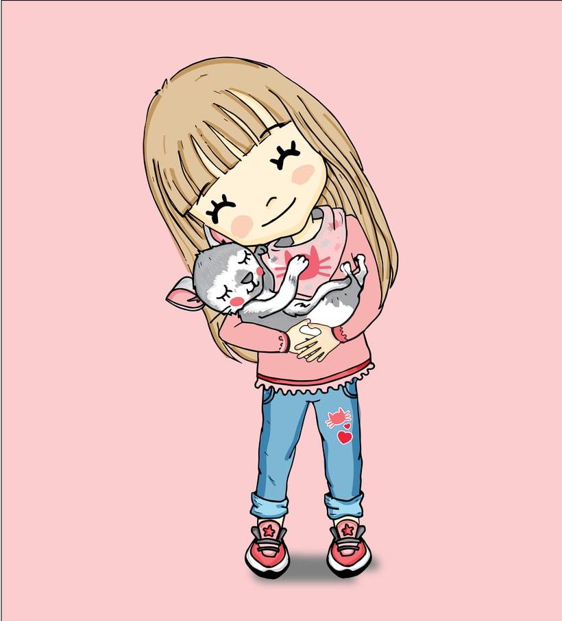 Niña y gatito -1