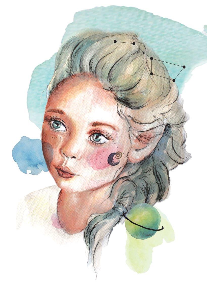 Mi ilustracion: ella y el espacio 0