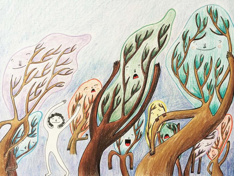 Personajes y bosques de colores 1