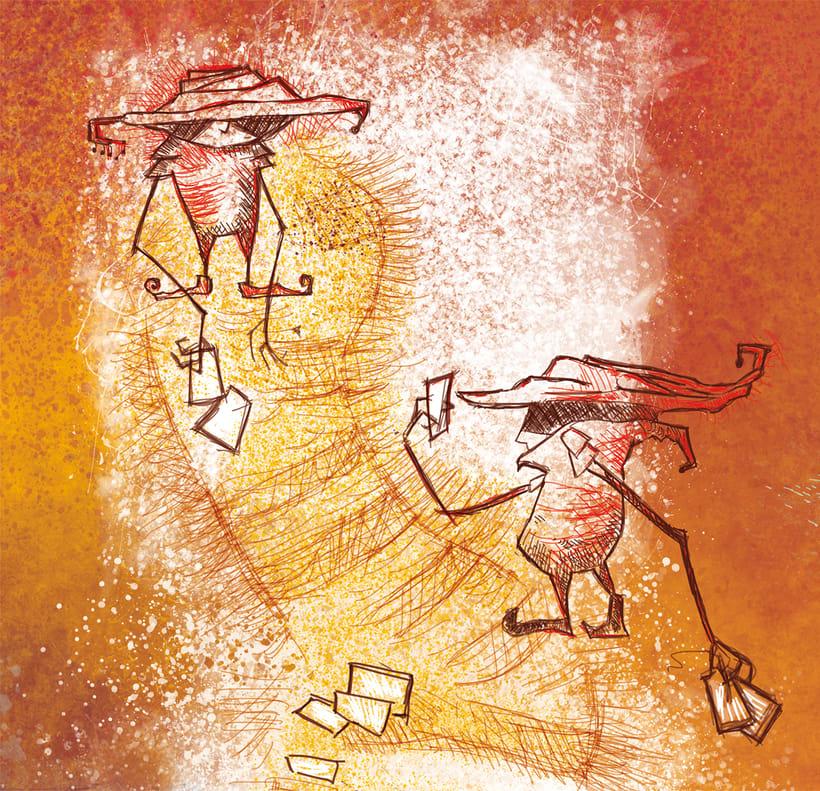 """""""The Game"""". Ilustración para interior libreto disco de vinilo """"CARLOTA 202"""" 0"""